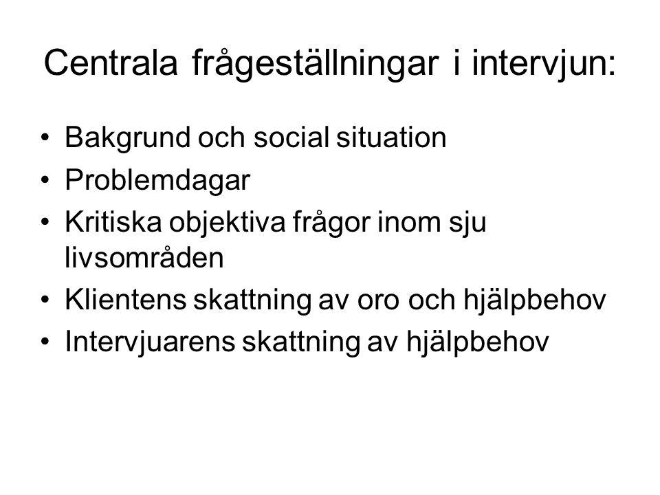 Centrala frågeställningar i intervjun: