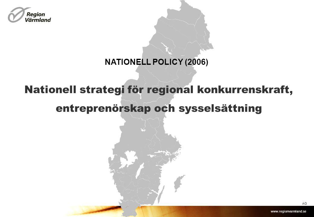 NATIONELL POLICY (2006) Nationell strategi för regional konkurrenskraft, entreprenörskap och sysselsättning.