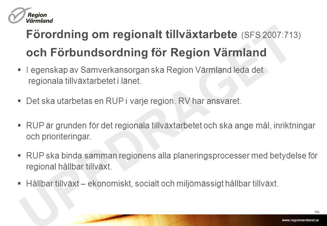 Förordning om regionalt tillväxtarbete (SFS 2007:713) och Förbundsordning för Region Värmland