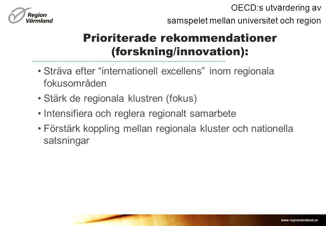 Prioriterade rekommendationer (forskning/innovation):