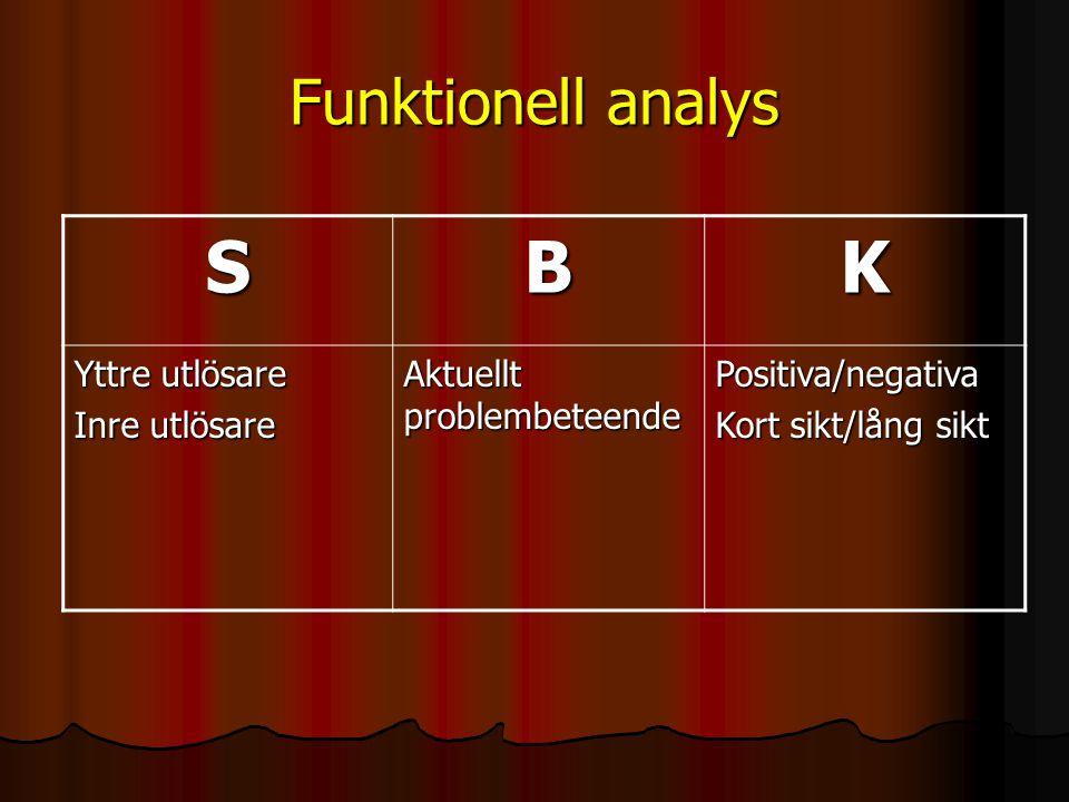 S B K Funktionell analys Yttre utlösare Inre utlösare