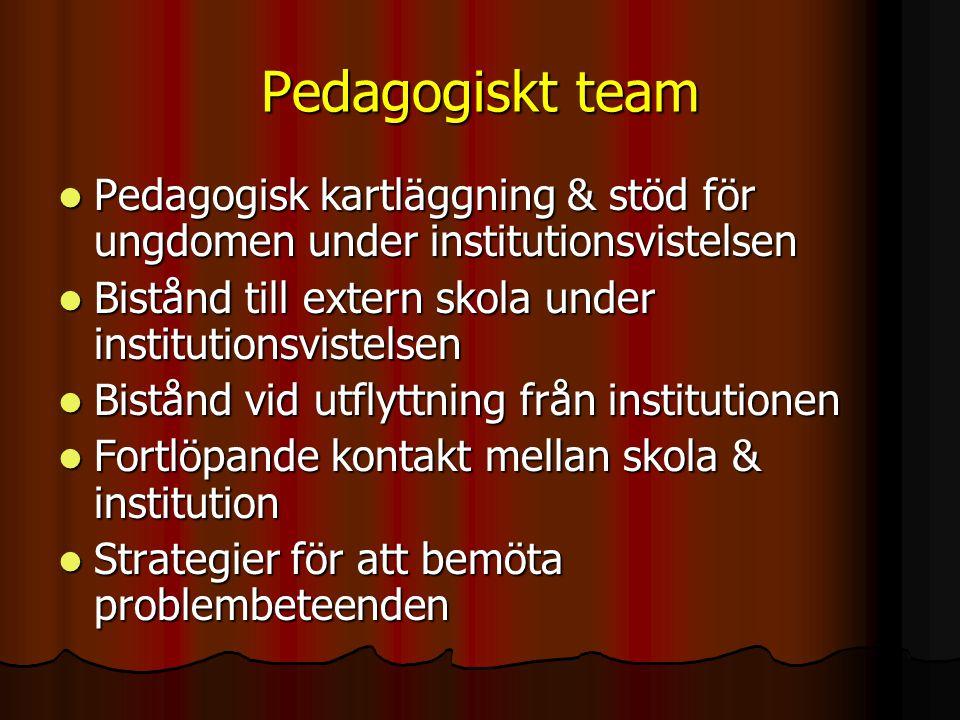 Pedagogiskt team Pedagogisk kartläggning & stöd för ungdomen under institutionsvistelsen. Bistånd till extern skola under institutionsvistelsen.