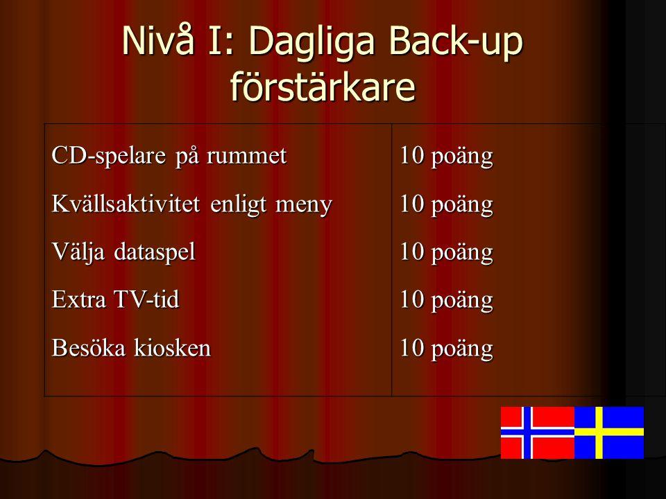 Nivå I: Dagliga Back-up förstärkare