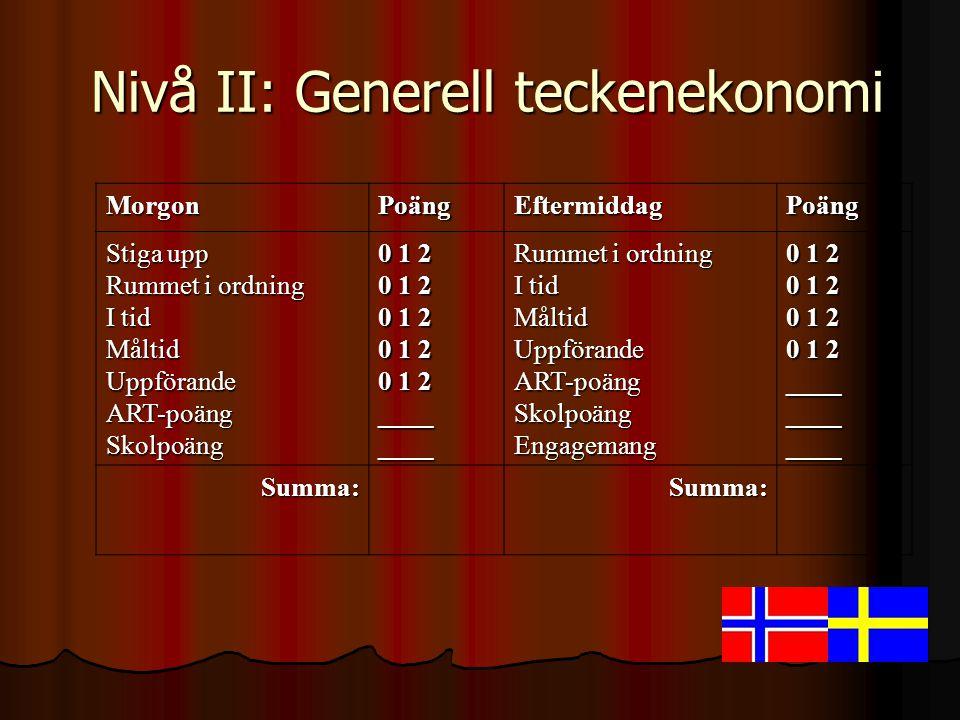 Nivå II: Generell teckenekonomi