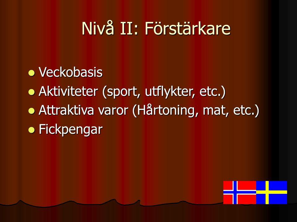 Nivå II: Förstärkare Veckobasis Aktiviteter (sport, utflykter, etc.)