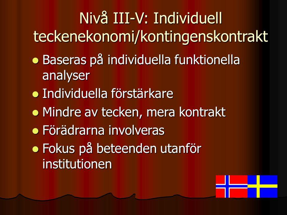 Nivå III-V: Individuell teckenekonomi/kontingenskontrakt