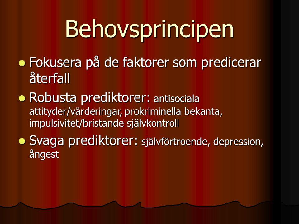 Behovsprincipen Fokusera på de faktorer som predicerar återfall