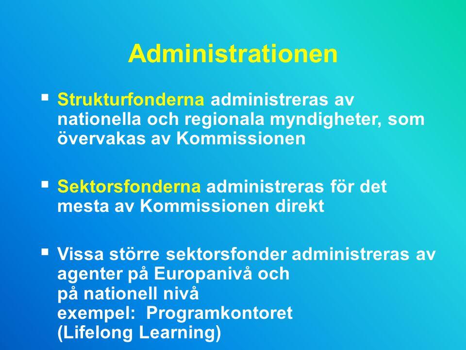 Administrationen Strukturfonderna administreras av nationella och regionala myndigheter, som övervakas av Kommissionen.