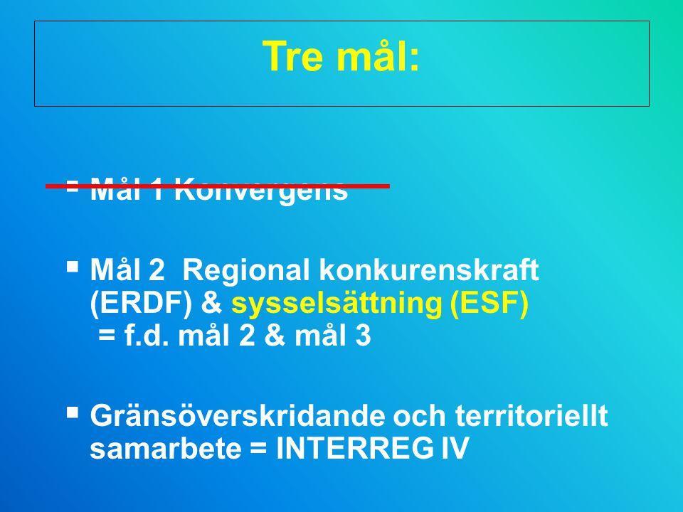 Tre mål: Mål 1 Konvergens. Mål 2 Regional konkurenskraft (ERDF) & sysselsättning (ESF) = f.d. mål 2 & mål 3.