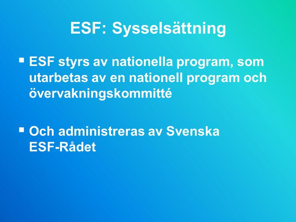 ESF: Sysselsättning ESF styrs av nationella program, som utarbetas av en nationell program och övervakningskommitté.