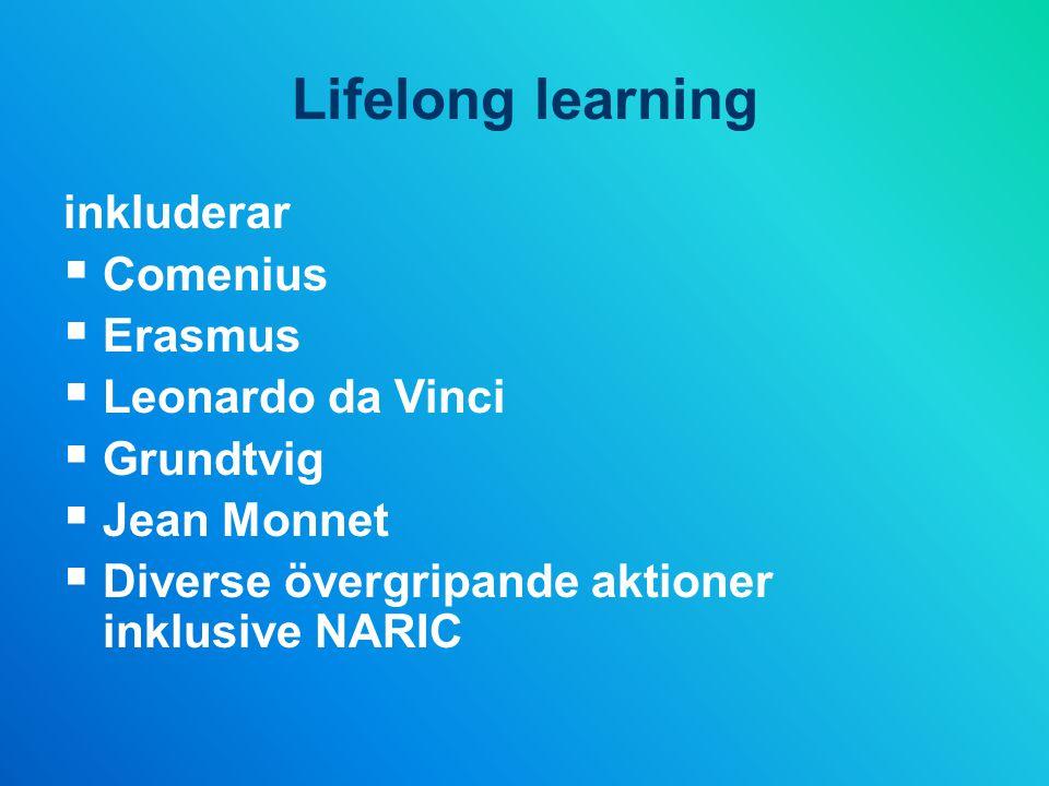 Lifelong learning inkluderar Comenius Erasmus Leonardo da Vinci