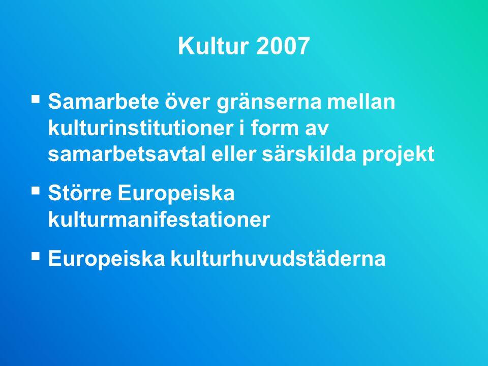 Kultur 2007 Samarbete över gränserna mellan kulturinstitutioner i form av samarbetsavtal eller särskilda projekt.