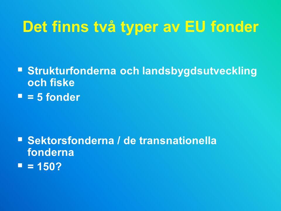 Det finns två typer av EU fonder