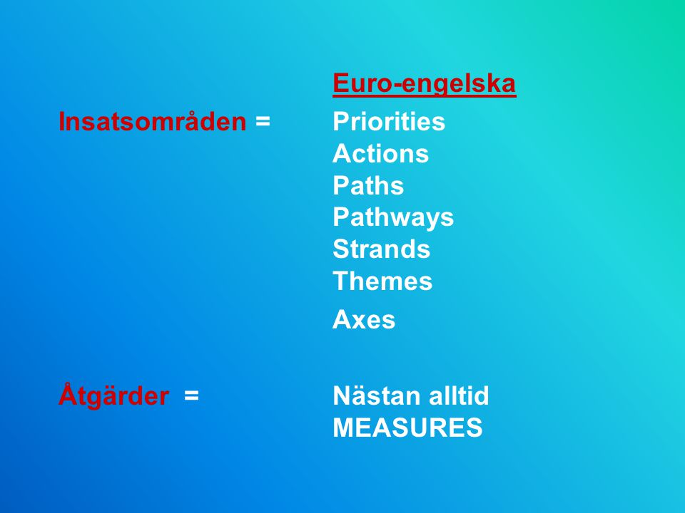 Euro-engelska Insatsområden = Priorities Actions Paths Pathways Strands Themes.