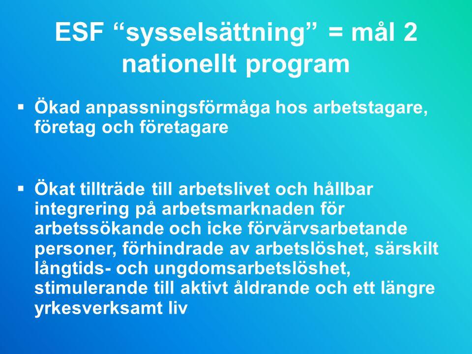 ESF sysselsättning = mål 2 nationellt program