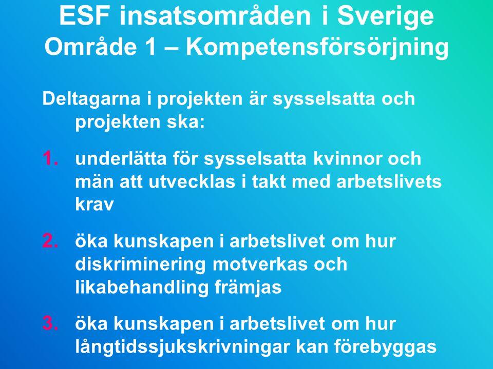 ESF insatsområden i Sverige Område 1 – Kompetensförsörjning
