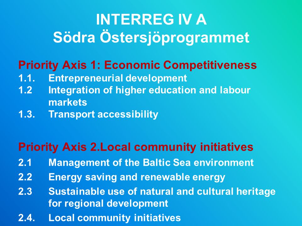 INTERREG IV A Södra Östersjöprogrammet