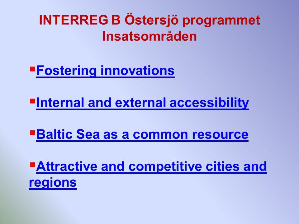 INTERREG B Östersjö programmet Insatsområden