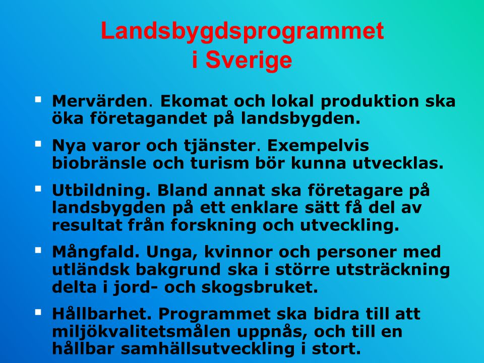 Landsbygdsprogrammet i Sverige