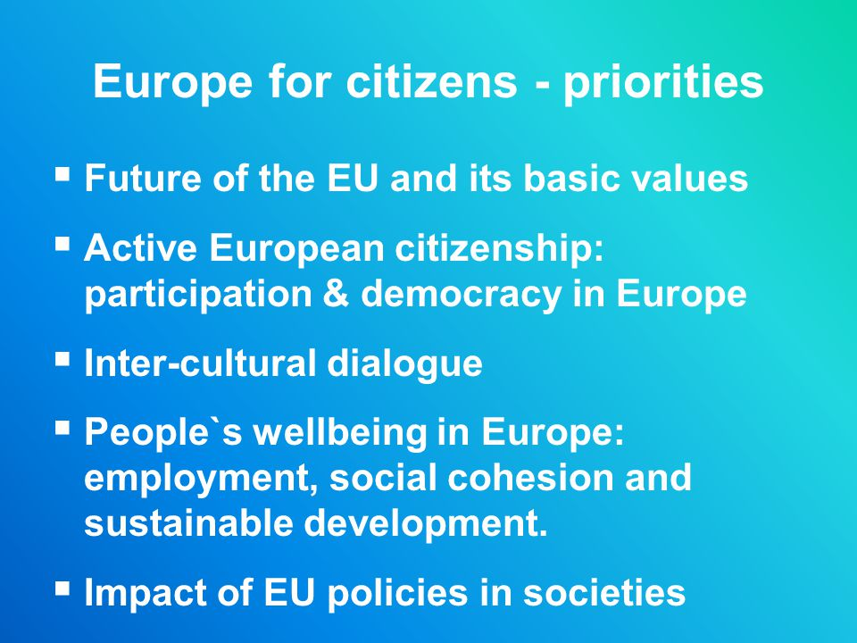 Europe for citizens - priorities