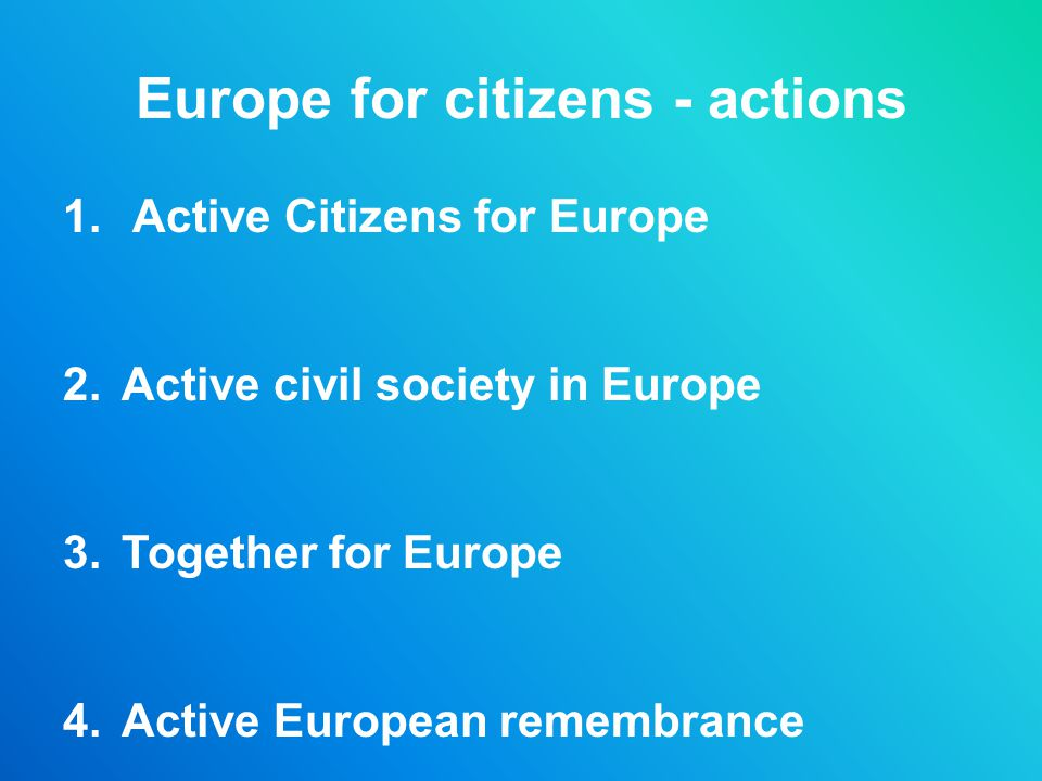 Europe for citizens - actions