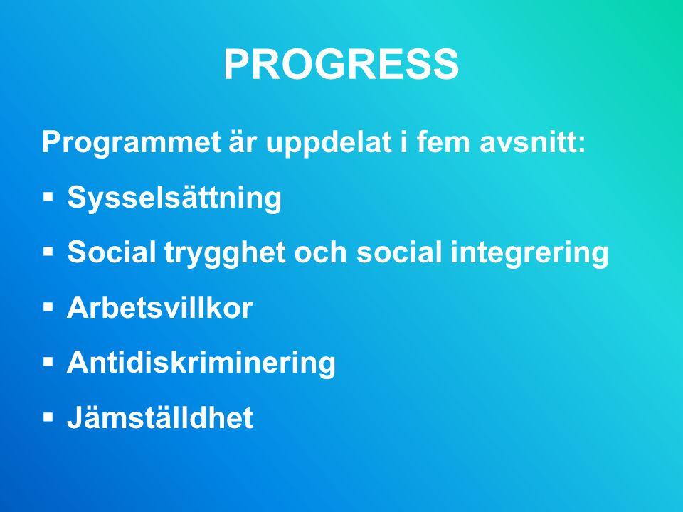 PROGRESS Programmet är uppdelat i fem avsnitt: Sysselsättning