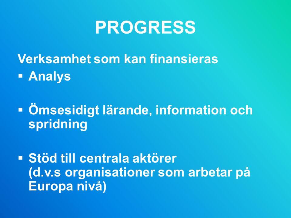 PROGRESS Verksamhet som kan finansieras Analys