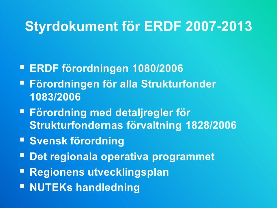 Styrdokument för ERDF 2007-2013