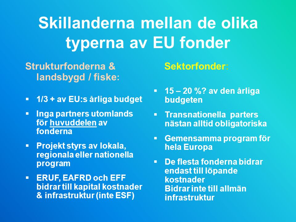Skillanderna mellan de olika typerna av EU fonder