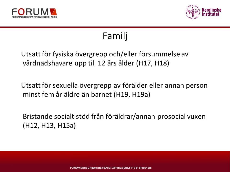 Familj Utsatt för fysiska övergrepp och/eller försummelse av vårdnadshavare upp till 12 års ålder (H17, H18)