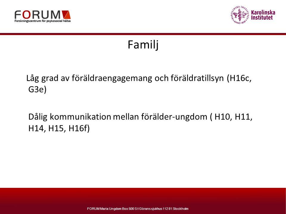 Familj Låg grad av föräldraengagemang och föräldratillsyn (H16c, G3e)