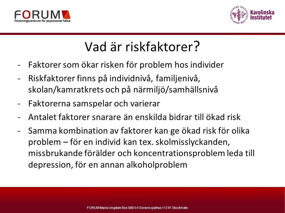 Vad är riskfaktorer Faktorer som ökar risken för problem hos individer.