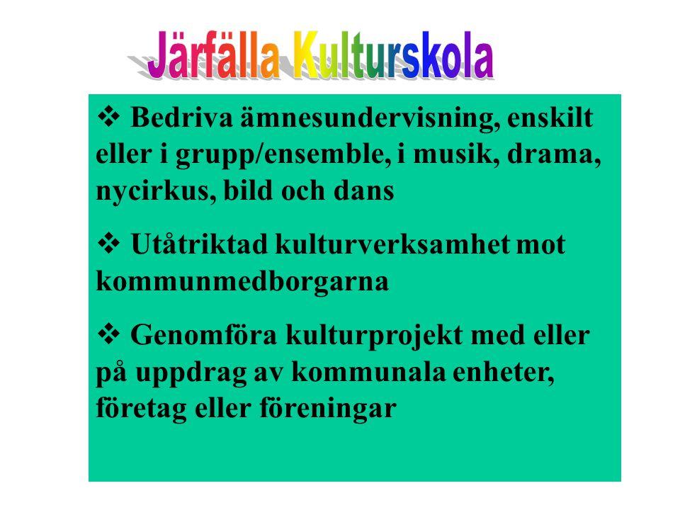 Järfälla Kulturskola Bedriva ämnesundervisning, enskilt eller i grupp/ensemble, i musik, drama, nycirkus, bild och dans.