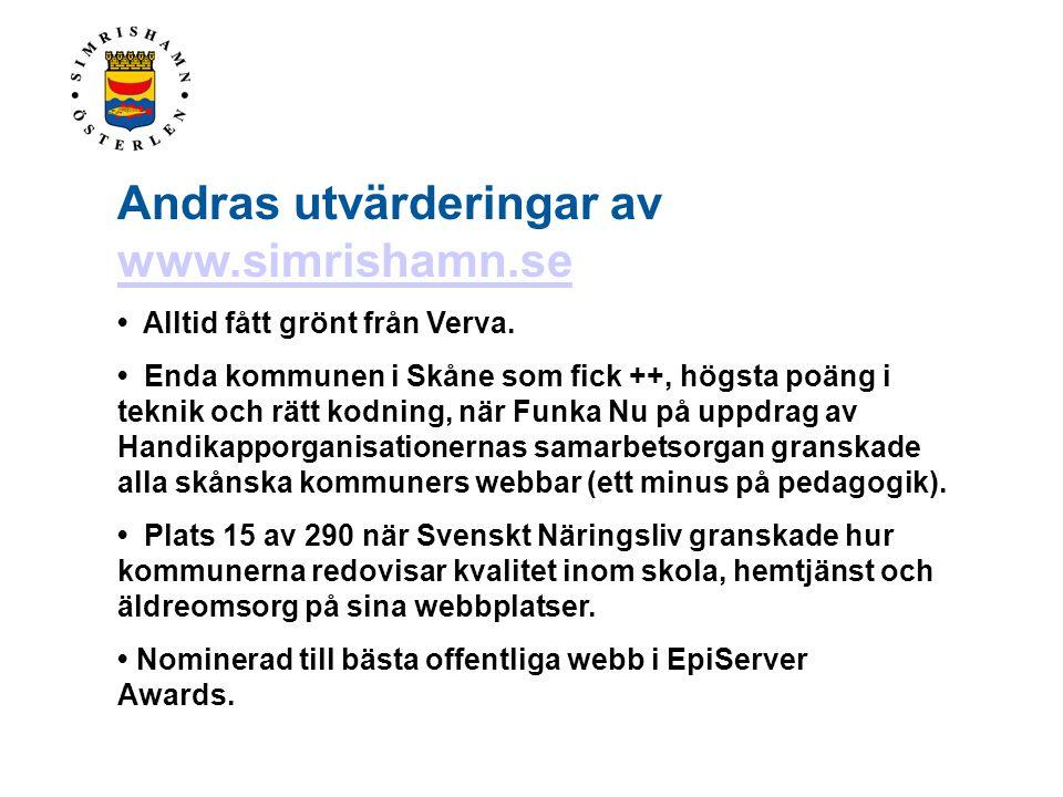 Andras utvärderingar av www.simrishamn.se