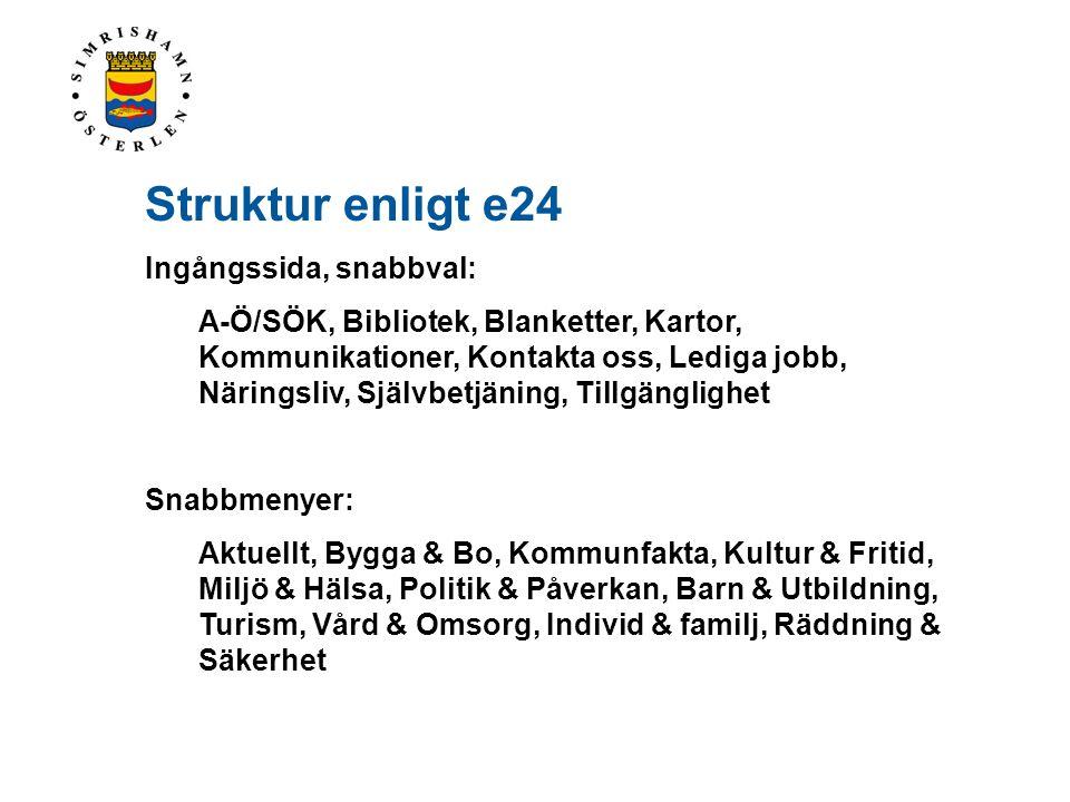 Struktur enligt e24 Ingångssida, snabbval: