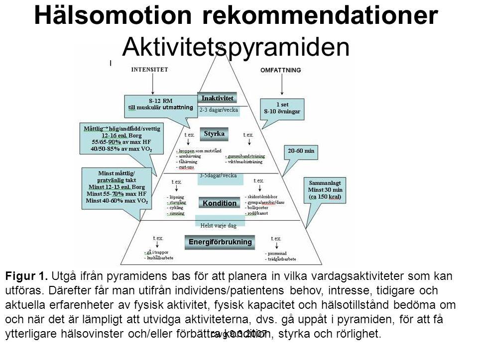 Hälsomotion rekommendationer Aktivitetspyramiden