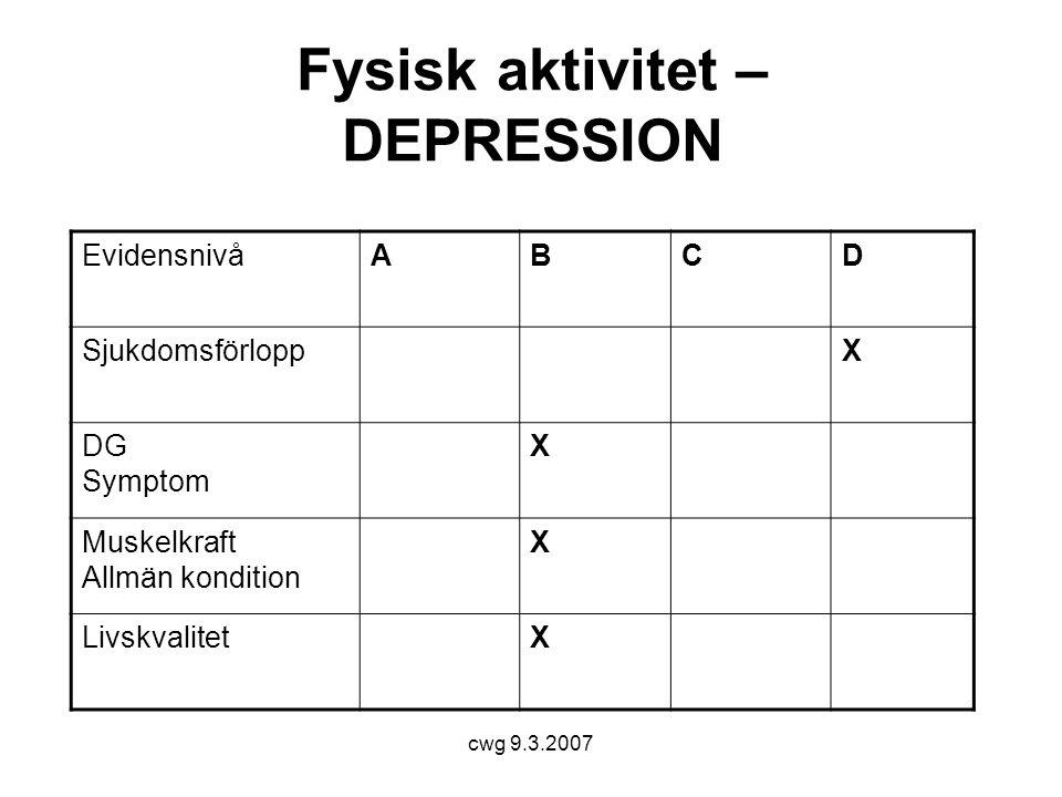 Fysisk aktivitet – DEPRESSION