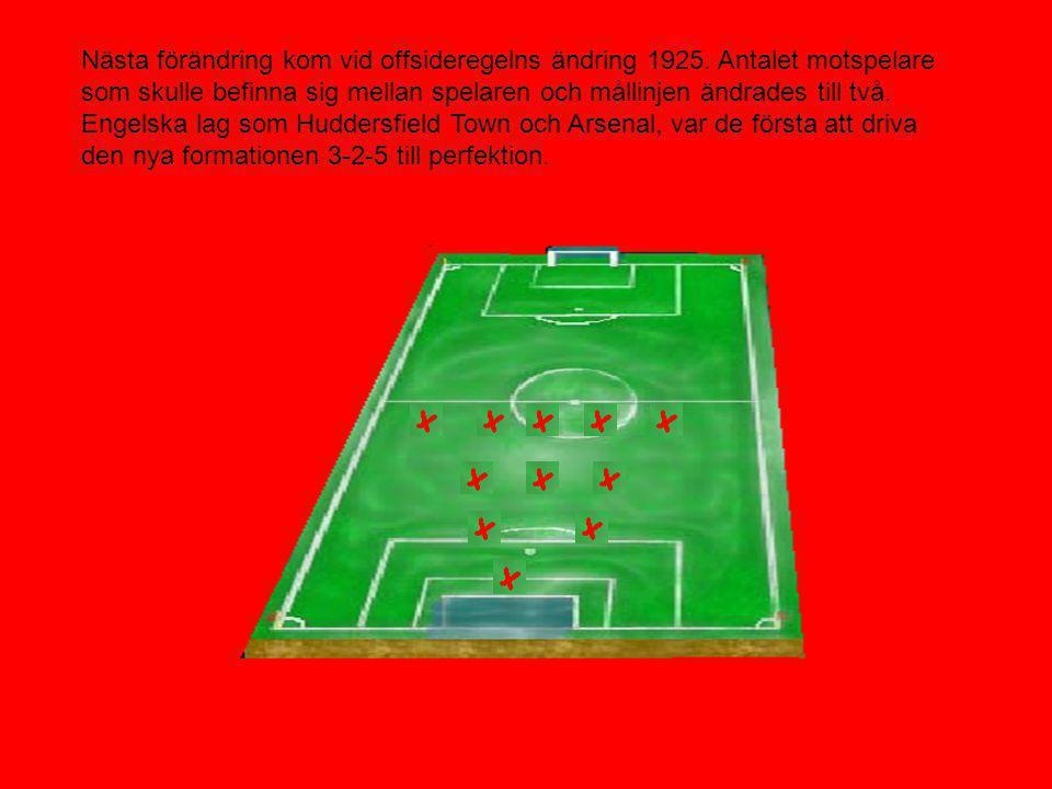Nästa förändring kom vid offsideregelns ändring 1925