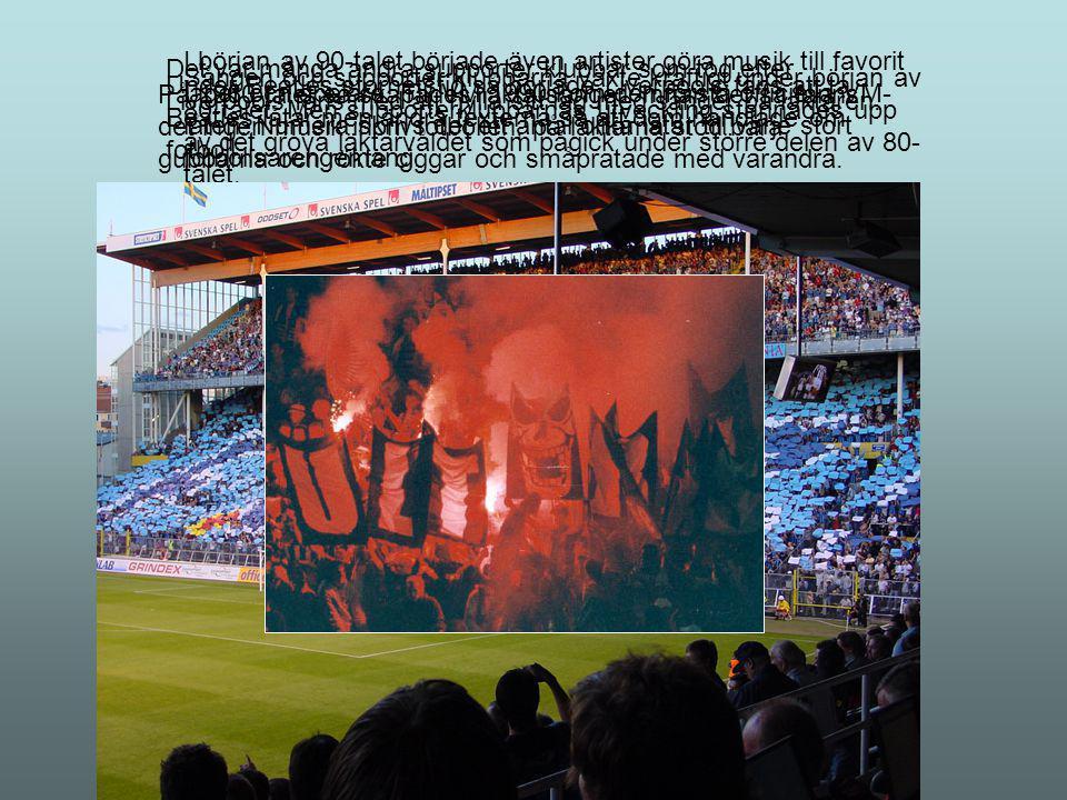I början av 90-talet började även artister göra musik till favorit laget och spelare. Till VM 1990 kom den första officiella VM-låten. Numera skrivs det ett antal olika låtar till varje stort fotbollsarengemang.