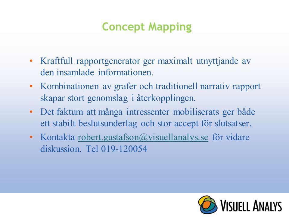 Concept Mapping Kraftfull rapportgenerator ger maximalt utnyttjande av den insamlade informationen.