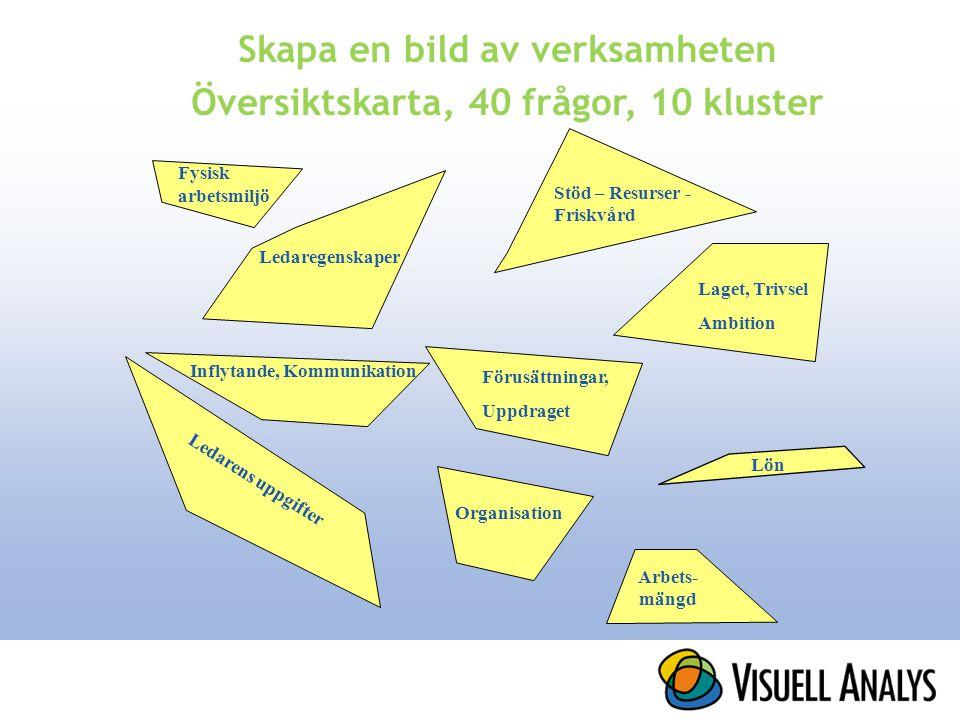 Skapa en bild av verksamheten Översiktskarta, 40 frågor, 10 kluster