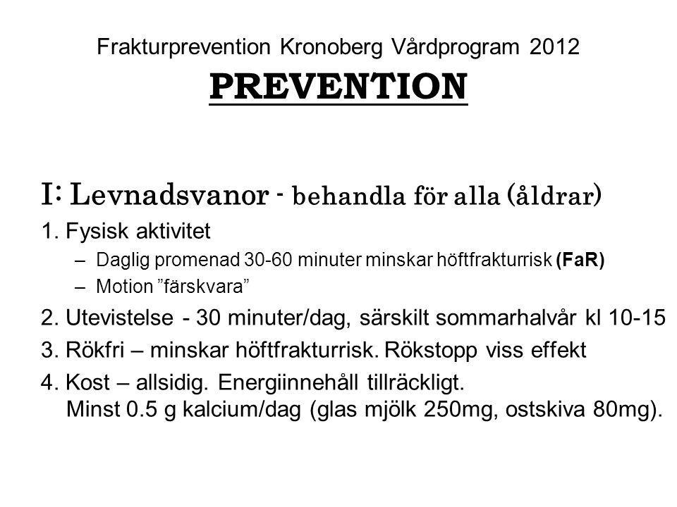Frakturprevention Kronoberg Vårdprogram 2012 PREVENTION