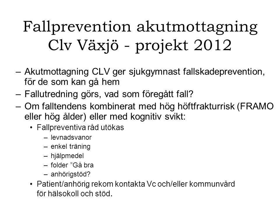 Fallprevention akutmottagning Clv Växjö - projekt 2012