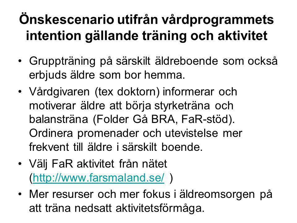 Önskescenario utifrån vårdprogrammets intention gällande träning och aktivitet