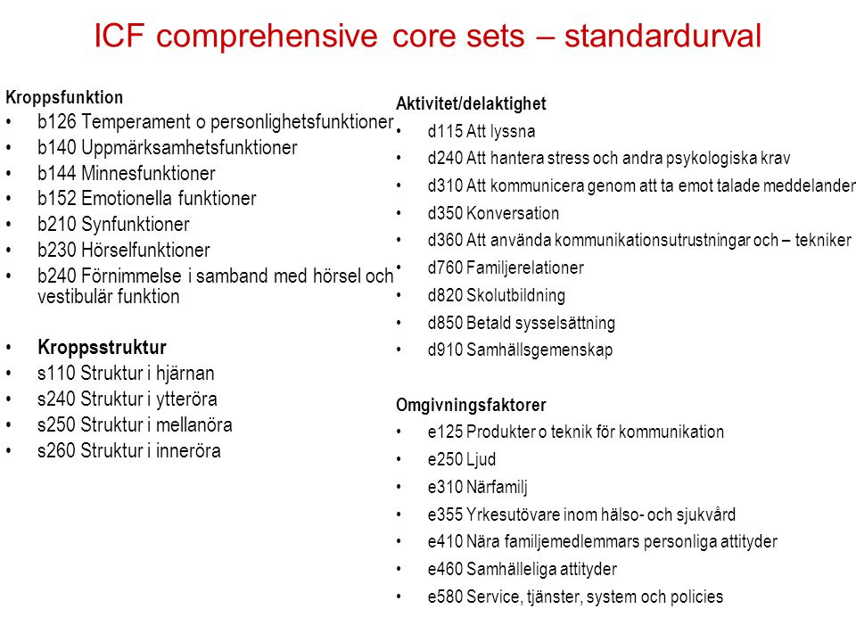 ICF comprehensive core sets – standardurval