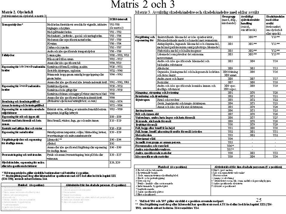 Matris 2 och 3