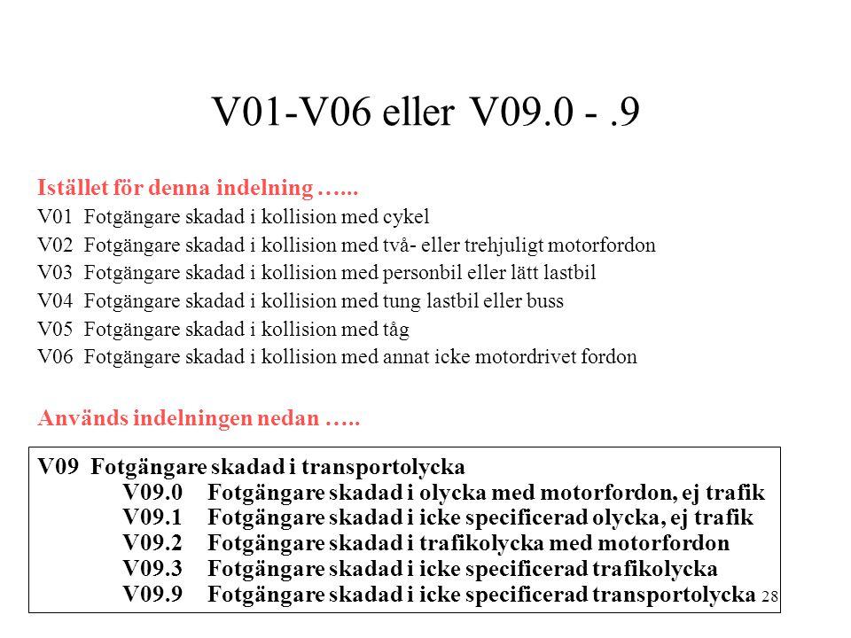 V01-V06 eller V09.0 - .9 Istället för denna indelning …...