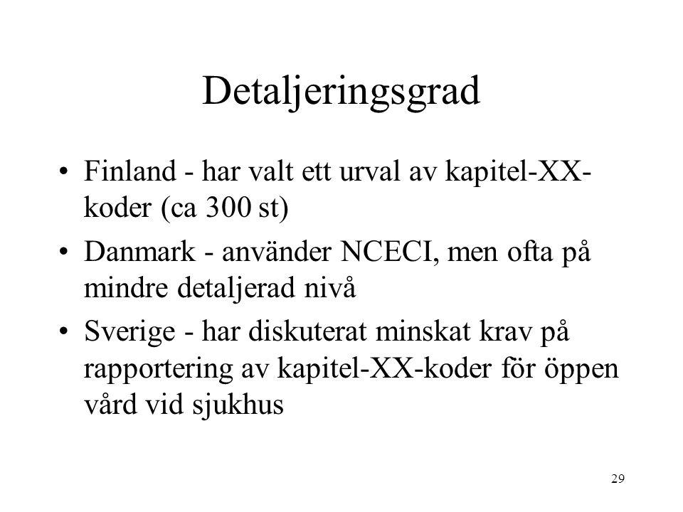 Detaljeringsgrad Finland - har valt ett urval av kapitel-XX-koder (ca 300 st) Danmark - använder NCECI, men ofta på mindre detaljerad nivå.