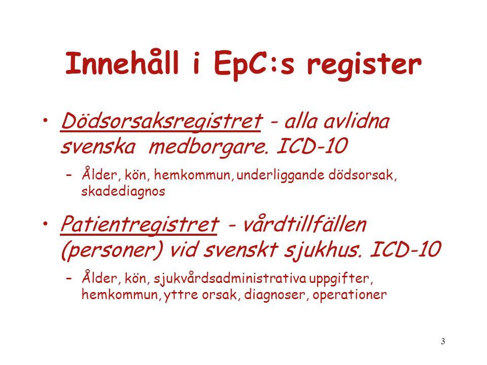 Innehåll i EpC:s register