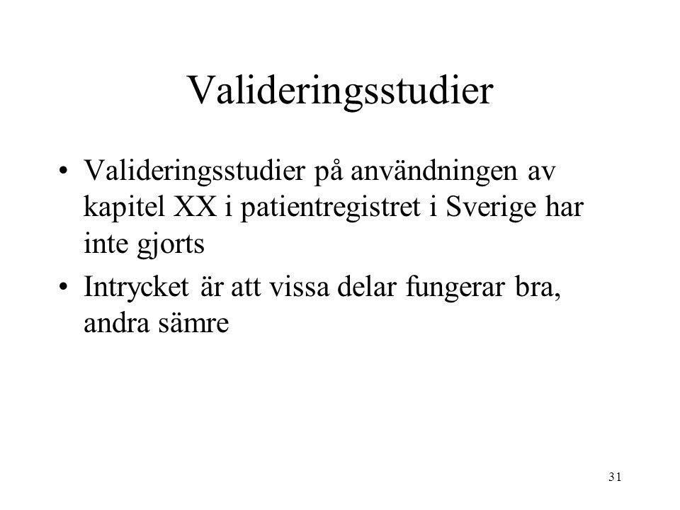 Valideringsstudier Valideringsstudier på användningen av kapitel XX i patientregistret i Sverige har inte gjorts.